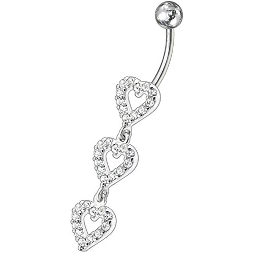 White Gemstone Fancy Triple Studded Heart Dangling 925 Sterling Silver with Stainless Steel Belly Button Navel Rings