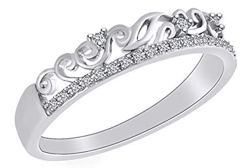 Diamond Filigree Heart Band Ring - 0.08 Cttw Round Cut White Natural Diamond Filigree Stackable Ring In 10k Solid White Gold Ring Size-7