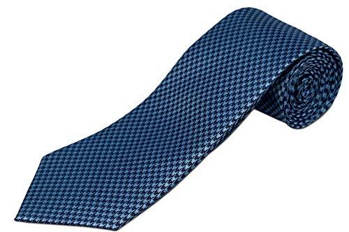 Ties Blue Silk Narrow (Extra Long Light Blue and Navy Houndstooth Silk Tie)