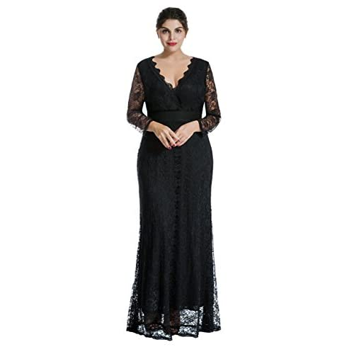 chic Myfeel Women Plus Size Maxi length Sleeves Lace Dress ...