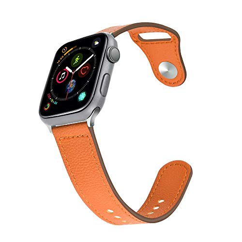 (Taolla Compatible with Apple Watch Band 38mm 40mm, Genuine Leather iWatch Replacement Bracelet Wristband Sport Strap Women Men Compatible with Apple Watch 4/3/ 2/1 Sport Nike+ Edition, Brown)