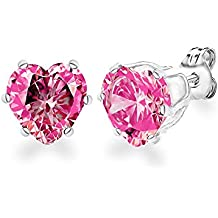 Diane Lo'ren 18KT White Gold Plated Kids 6mm Gemstone Crystal Heart Cubic Zirconia Studs Cartilage Earrings For Children