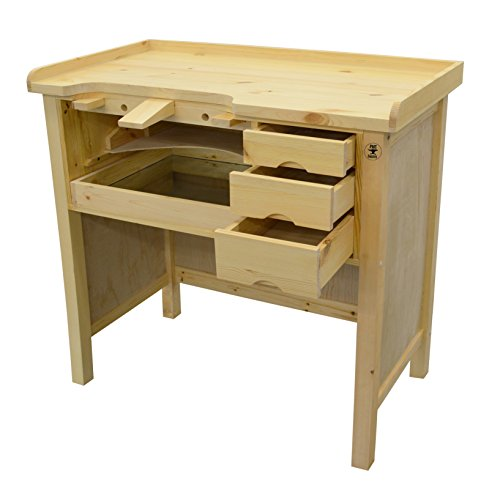 Deluxe Solid Wooden Jewelers Bench Workbench Station w/ Drawers For Jewelry Making