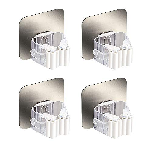HanleyDepot Mop and Broom Holder Gripper Hanger Self Adhesive Reusable No Drilling Slightly Push into Wall Mounted Storage Rack & Organization for Your Home Kitchen and Toilet(4 Pack)