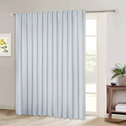 NICETOWN Sliding Door Curtain Window Treatment, Energy Smart Thermal Insulated Extra Wide Solid Blackout Curtains/Drapes for Patio Door (Greyish White, W100 x L84) ()