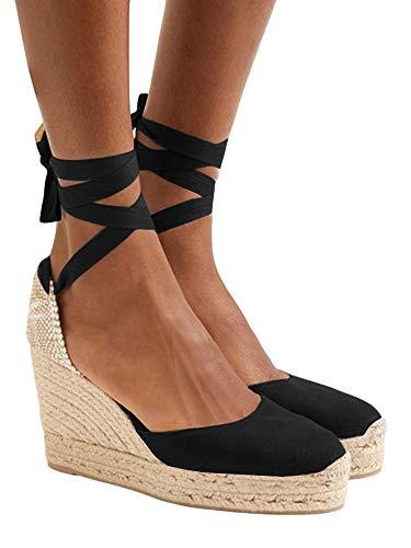 Womens Closed Toe Lace Up Espadrille Platform Wedges Sandals Shoes Canvas Ankle Tie Strap Dress Shoes Black ()