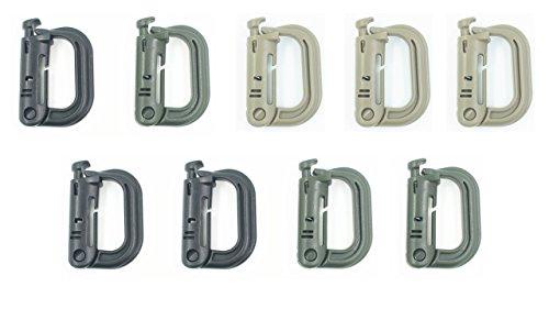 9 Pack Grimloc Super Strong Molded Polymer Clip Carabiner - (Multiple Color Options) (Grimloc Carabiner)