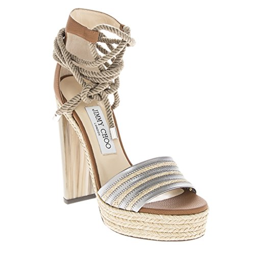 Jimmy Choo Women's Mayje Braided Jute Trim Rope-Tie Metallic Leather Platform Sandal Tan EU 39 (US - Choo Women For Shoes Jimmy