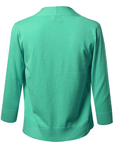 Awesome21 Solid Soft Stretch 3/4 Sleeve Layer Bolero Cardigan Green Size XL by Awesome21 (Image #2)