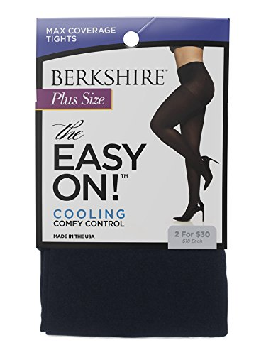 Berkshire Women's Plus Size the Easy on Max Coverage Tights, Navy, Queen Petite (Petite Tights)