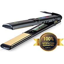 "Professional Flat Iron Hair Straightener Ceramic Tourmaline 1"" Floating Plates 1 Pass No Pinch Free 2-in-1 Mini Iron & Heat Resistant Carry Case"