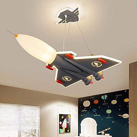 Litfad Modern Airplane Pendant Light Fighter Acrylic Chandelier Lamp Macaron Grey Finish Led Hanging Ceiling Light For Kindergarten Boys Bedroom Children S Room Amazon Com