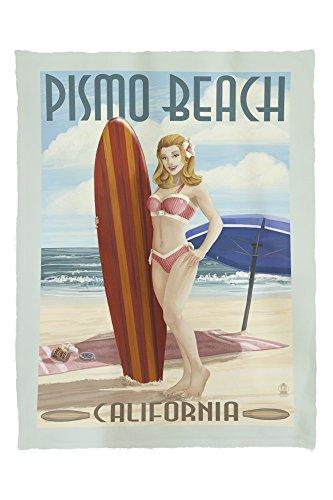 Pismo Beach, California - Surfer Pinup Girl (60x80 Poly Fleece Thick Plush - Pismo Stores Beach