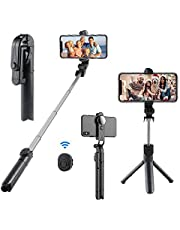 Wireless Selfie Stick, 360° Adjustable Selfie Stick with Tripod Stand and Detachable Wireless Remote, Support Video Record, Extendable Monopod for Gopro Camera iPhone XS Max/XS/XR/X/8Plus/8/7 Plus/7/6S Plus/6S,Galaxy S5/S6 Edge/ S8/S7/ S7 Edge and Other Android Devices