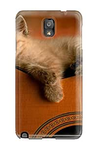 New Style Tpu Note 3 Protective Case Cover/ Galaxy Case - Kitten On Guitar Cat Animal Cat
