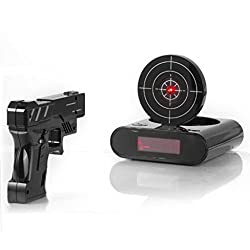 iKKEGOL Game Alarm Clock with Infrared Laser Gun - LED Digital Display Game Toys Gifts For Christmas New Year (Black)