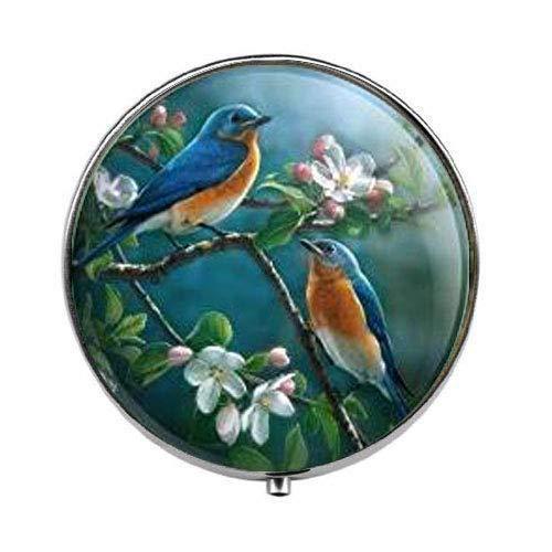 Bluebirds Blue Birds Thrush - Art Photo Pill Box - Charm Pill Box - Glass Candy Box
