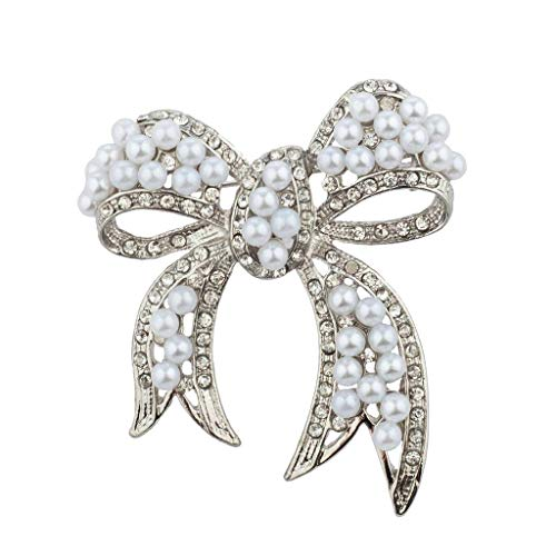 Pin Bow Pave (Lux Accessories Silver Tone Pearl and Pave Rhinestone Casted Bow Brooch Pin)