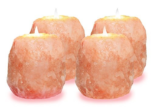 WBM Himalayan Glow 3002C Natural Himalayan Pink Salt Candle Holder, 3.5 Inches Height (each 1.5 lbs.), Home Décor, Natural Style Himalayan Pink Salt Rock 1 Hole Tealight Candle Holder, 4 Packs ()