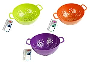 Culinary Elements 6-inch Mini Colander with Double Handles and Deep Bowl, Colors Vary, 1-pack