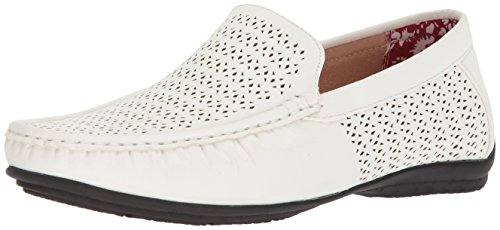 STACY ADAMS Men's Cicero Perfed MOC Toe Slip-ON Driving Style Loafer, White, 11.5 M US