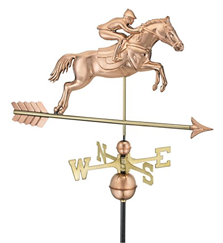 Weathervane Outdoor Decor (Good Directions 1912P Large Jumping Horse & Rider Weathervane,)