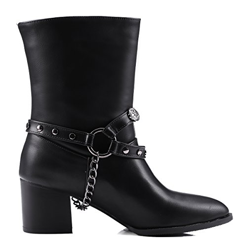 Casual Block Pointed Womens Toe AIWEIYi Boots Dress Black Ladies Shoes High Chunky Heels Booties Ankle wSEdTvPEq