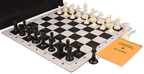 - Professional Jumbo-Floppy Chess Set Package Black & Ivory Pieces - Black