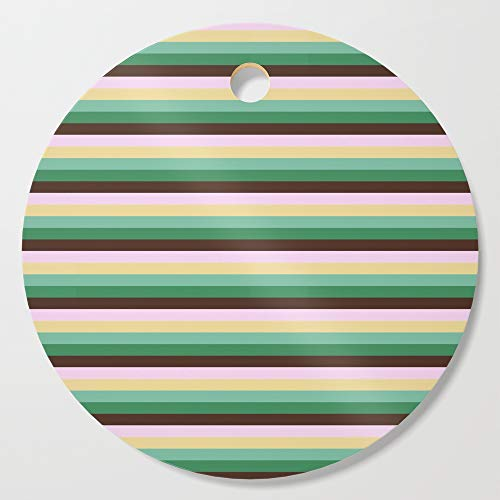 Society6 Wooden Cutting Board, Round, Earth Tones Skinny STRIPES by vintageappeal623 (Stripe Skinny Earth)