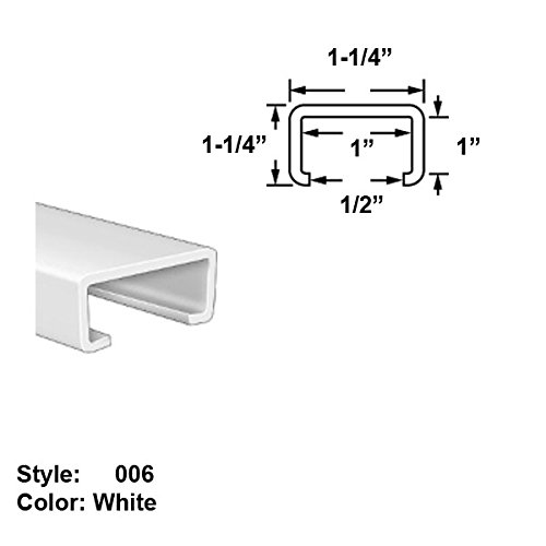 Food-Grade UHMW Plastic C-Channel Push-On Trim, Style 006 - Ht. 1-1/4'' x Wd. 1-1/4'' - White - 8 ft long by Gordon Glass Co.