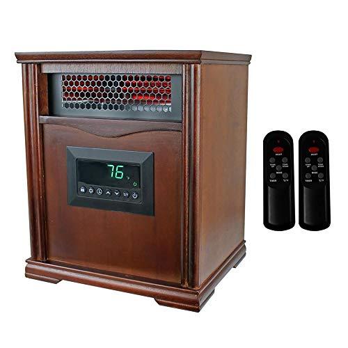 LifeSmart LifePro Dark Oak 1500 Watt Infrared Electric Portable Space Heater Infrared Heaters