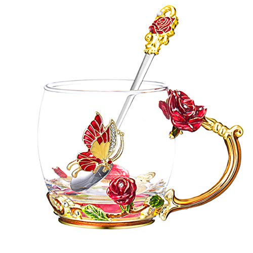 Lilyss Tea Cups Coffee Mug with Spoon for Women Girls, Crystal Glass Rose Flower Design Handmade Enamel Beautiful Coffee Tea Cup Set - Gift for Mom Wife Girlfriend Sisters Coworker (Red-Short)