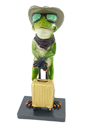 (CuteFrogs Funny & Lovely Green Frog Statue,Resin Frog Statues and Figurines Home Decor Creative Decorations Frog Sculpture (Waiting))