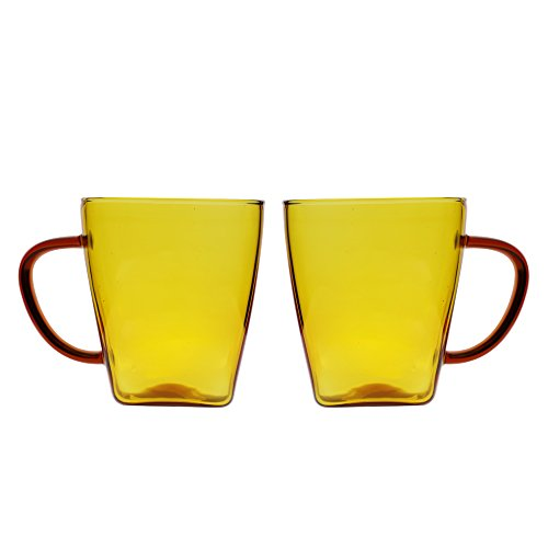 (17oz Glass Cups Coffee Mugs with Handles for Espresso Juice Water Milk Set of 2 Amber)