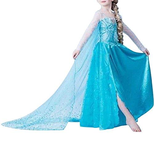 Timesun® Mädchen Partei Kostüm Prinzessin Kleid Verrücktes Kleid Outfit fever schneeprinzessin kostüm (122 (Herstellergröße 130), Blau #01)