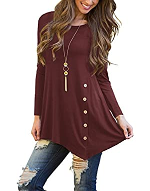 Women's Short Sleeve Scoop Neck Button Side Tunic Top