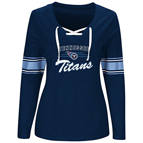 - NFL Tennessee Titans Women TITIANS L/S JERSEY  V NECK TEE, NAVY/WHITE, 1X