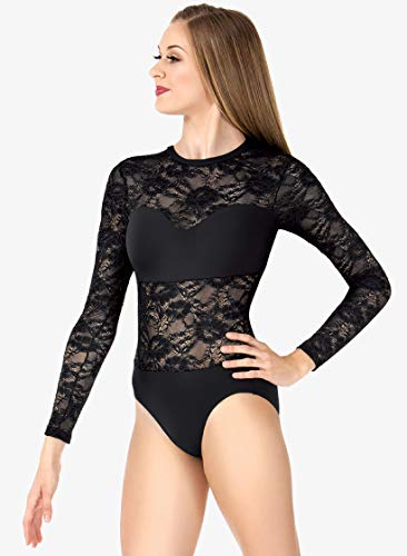 Adult Sweetheart Bandeau Lace Long Sleeve Leotard LC210BLKS Black Small
