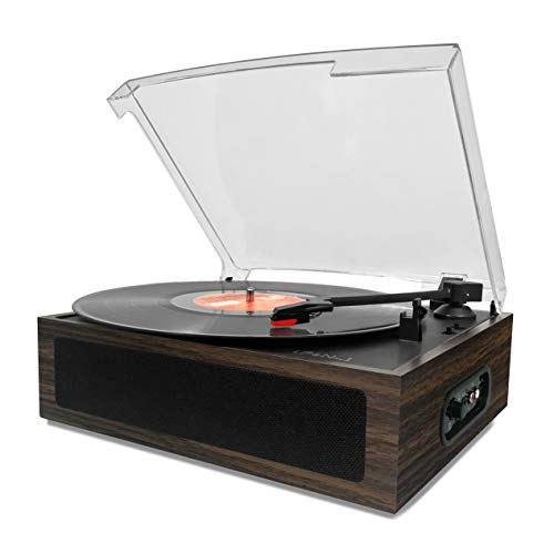 LP&No.1 Vintage Vinyl Record Player with Stereo Speaker,3 Speed Turntable Dark Brown