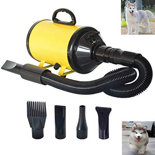 C&W Pet Dog Cat Hair Dryer Blower,Pet Grooming Dryer with Heater,Speed Adjustable Dog Hair Dryer,Pet Dryer for Large Small Dogs Cats Animal,Variable Speed (Yellow)