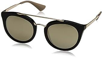 Prada Women's PR 23SS Sunglasses Black / Grey Mirror
