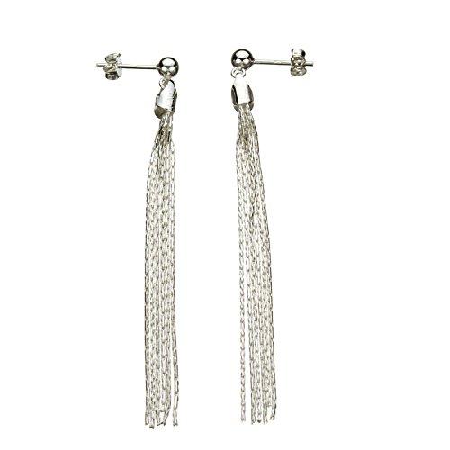 Sterling Silver Multi-Strand Diamond-Cut Italy Chain Tassel Earrings -