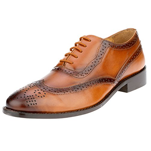 Liberty Men's Brogue Perforated/Burnished Toe Handmade Leather Wing-tip Lace up Oxford Dress Shoes Tan