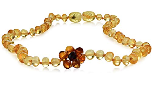 "Premium Grade Amber Teething Necklace - Hand Crafted Baltic Amber Teething Necklace in 3 Sizes - Teething Relief for Baby, Toddler, and Child! Teether Necklaces with Lemon Pendant Amber Beads (10-11"")"