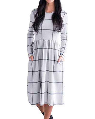Long Sleeve Printed Tunic Dress - YOMISOY Womens Plaid T Shirt Dress Casual Long Sleeve Printed Tunic Midi Dresses