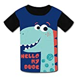 riverccc6.1500 Cute Dinosaur Hello My Dude Youth T-Shirt Boys Girls Tee