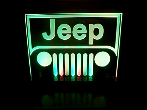 Jeep Logo LED Lamp Night Light Bedroom Game Room Man Cave (Halo Netting)