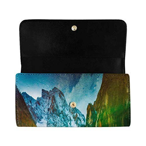 InterestPrint Women's Trifold Clutch Wallets Autumn Hintersee Lake PU Leather Card Holder