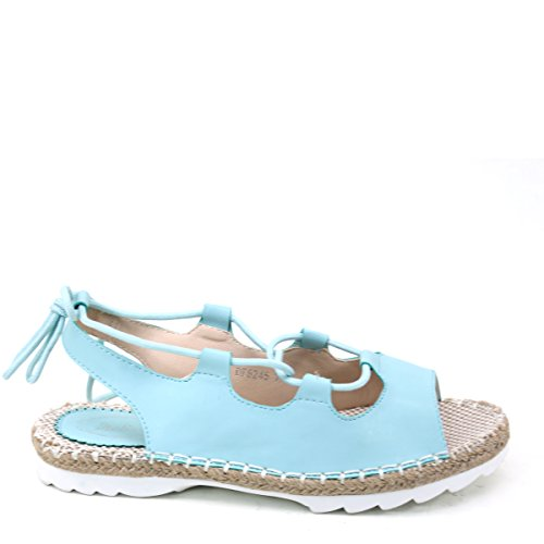 New Brieten Womens Lace-up Cut-out Comfort Straw Sole Casual Sandals Blue iMcJakYCa