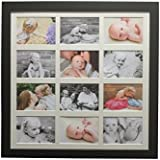 multi photo frame modern square black frame Hold 12 7x5 inch photos bevel cut mount by Picture Frames Buddy